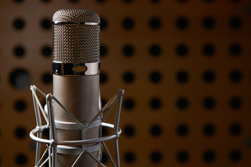 Close Up Of Microphone In Recording Studio