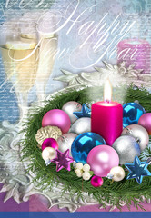 Christmas illustration. Traditional New Year beverage, champagne, glass with white wine, Christmas decorations, burning candle.