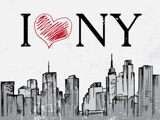 New York city hand drawn day cityscape