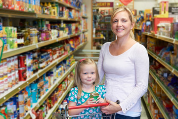Portrait Of Mother And Daughter In Supermarket