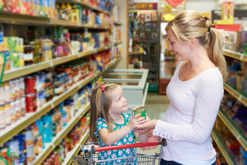 Mother And Daughter Shopping In Supermarket Together