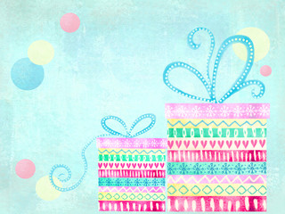 Cute gift boxes. Christmas card with christmas presents. Holiday background. Abstract isolated presents and gifts boxes