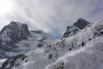 Corno Grande and Corno Piccolo - Gran Sasso. Winter panoramic view of Corno Grande and Corno Piccolo of Gran Sasso
