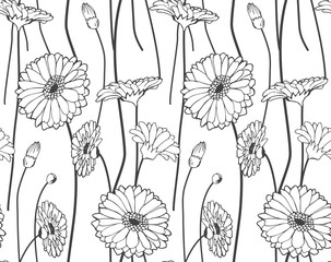 Seamless hand drawn wildflower pattern
