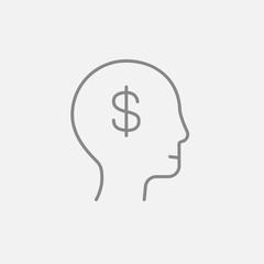 Head with dollar symbol line icon.