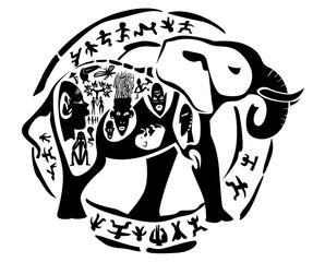 Vector tribal elephant, mammoth illustration, tattoo stamp