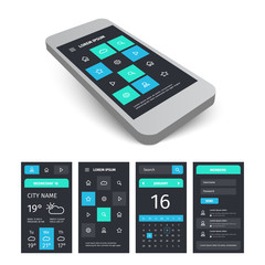 Vector mobile user interface app kit template with mockup.