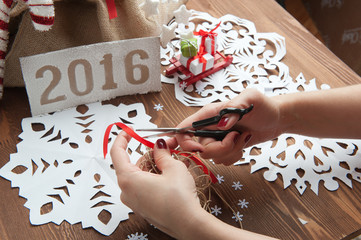 New Year's gifts, wooden table,