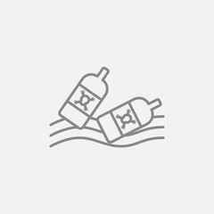 Bottles floating in water line icon.