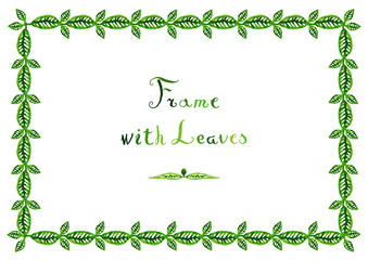 Watercolor green leaves vector frame (horizontal) with handwritten text