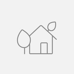 Eco-friendly house line icon.