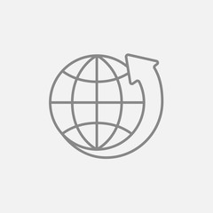 Earth and arrow around line icon.
