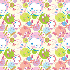 Cute animals seamless vector background, colorful