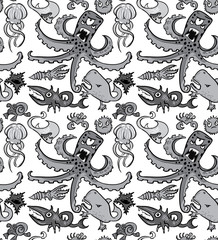 Seamless pattern with underwater monsters, vector background texture, monochrome grayscale