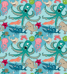 Seamless pattern with underwater monsters, vector background textures