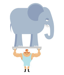 Ancient athlete and elephant. Vintage circus strongman. Bodybuil