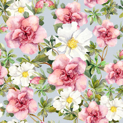 Watercolor flowers. Seamless floral pattern.