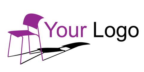 Chair logotype, furniture vector logo, purple