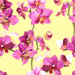 Pretty tiled template with spring floral design in purple orchids