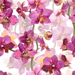 Seamless floral template with lily orchid flowers