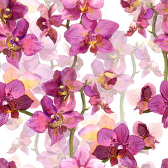 Floral seamless background with watercolor painted purple orchid flowers