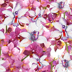 Bright floral pattern - orchid flowers in blossom. Seamless wallpaper. Aqurelle.