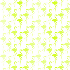 seamless repeating pattern with green flamingos on white background