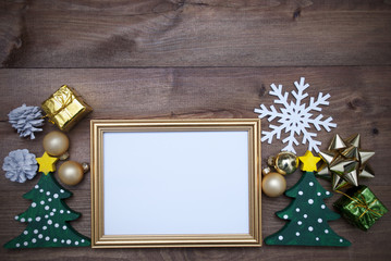 Frame With Christmas Decoration And Copy Space