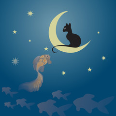 Cat sitting on the moon and fishing a golden fish