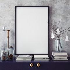 mock up poster frame in hipster interior background,christamas decoration, 3D render