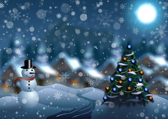 Snowman and Christmas tree on the background of a winter village