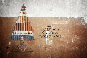 Christmas tree,hand made artwork from many  pieces of  rusty  ga