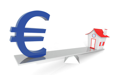 Euro Real Estate Balance Illustration Design Over a White Backgr