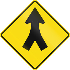 New Zealand road sign - Merge ahead
