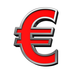 Euro sign from red with chrome frame alphabet set, isolated on white. Computer generated 3D photo rendering.