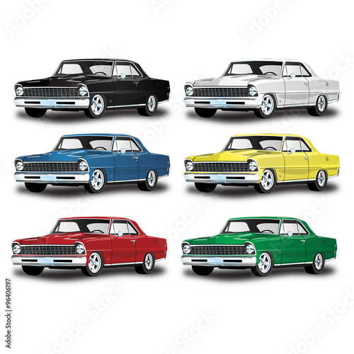 Vector Vintage Classic Car In Multiple Colors