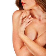 Portrait of a girl with beautiful breasts.
