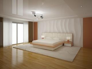 Interer modern spacious bedrooms .