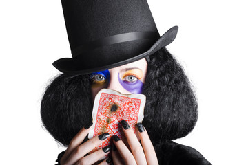 Joker with burnt playing card