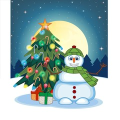 Snowman Wearing A Green Hat And Green Scarf Waving His Hand With Christmas Tree And Full Moon At Night Background For Your Design Vector Illustration