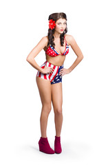 Full body pin-up girl. American retro style