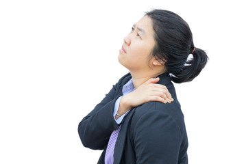 Businesswoman pained on shoulder : Office syndrome effect.