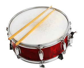 Red drum with drum sticks isolated on white background