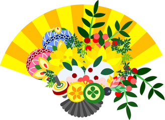 It is the illustration of the fan which are usable in celebration of the New Year.