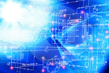 Engineering industrial electrical scheme with blue luminescence on blue background.Power industrial technology
