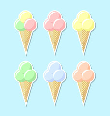Retro flat ice cream icons on pale blue background