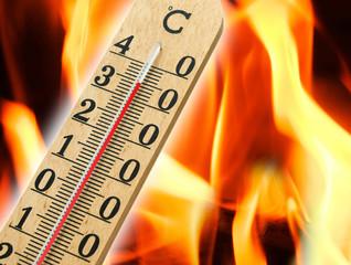 Mercury thermometer indicating high temperature