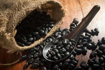 Black Beans in metal spoon with sack.