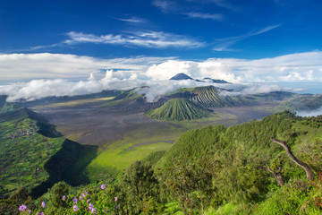 Mount Bromo and Batok volcanoes panorama in Bromo Tengger Semeru
