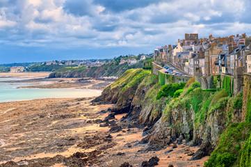 Beach on atlantic coast of Granville, Normandy, France